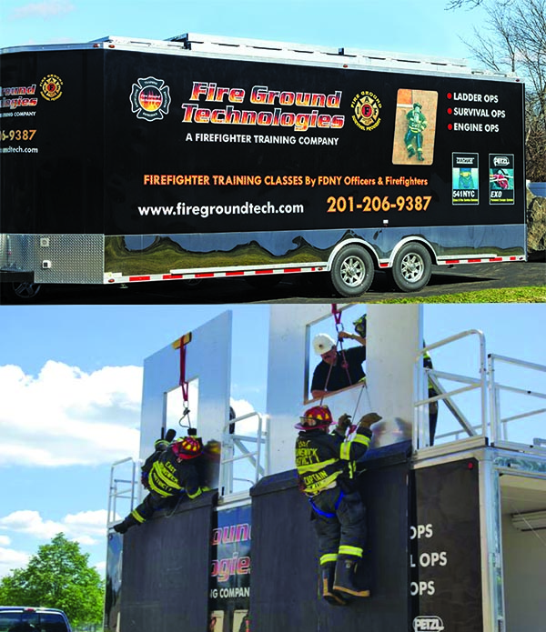 Mobile firefighter training bailout trailer